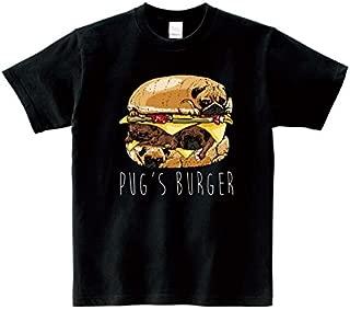 Lindwurm (リンドヴルム) Tシャツ メンズ 半袖 おしゃれ ハンバーガー パグバーガー pug 犬 パグ おもしろ クルーネック Uネック ユニセックス 男女兼用 プリントTシャツ