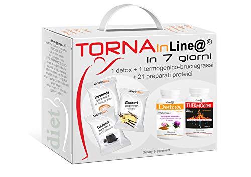 """Dieta Proteica ! Alimenti Proteici in Kit COMPLETO Brucia Grassi TornainLine@ in 7 Giorni: DOLCE 1 - 21 preparati PROTEICI (buste proteiche) senza Carboidrati e senza Zuccheri, una dieta per """"PERDERE PESO"""" COMPLETA di TERMOGENICO (BRUCIAGRASSI) e DEPURATIVO (SNELLENTE)! TRIPLA AZIONE*** Proteine + Termogenico + Depurativo (per 7 giorni)... e TORNI SUBITO in FORMA!"""