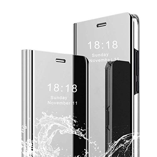 LANYOS Compatible Samsung Galaxy S10 Plus Flip Case,Full Body Protection Translucent Electroplate Plating S-View Mirror Cover Built in Kickstand (Silver)