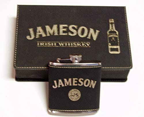 Jameson Whiskey Black leather 6 oz Flask Gift Set with 2 Shot Glasses and a Funnel in an Engraved product image