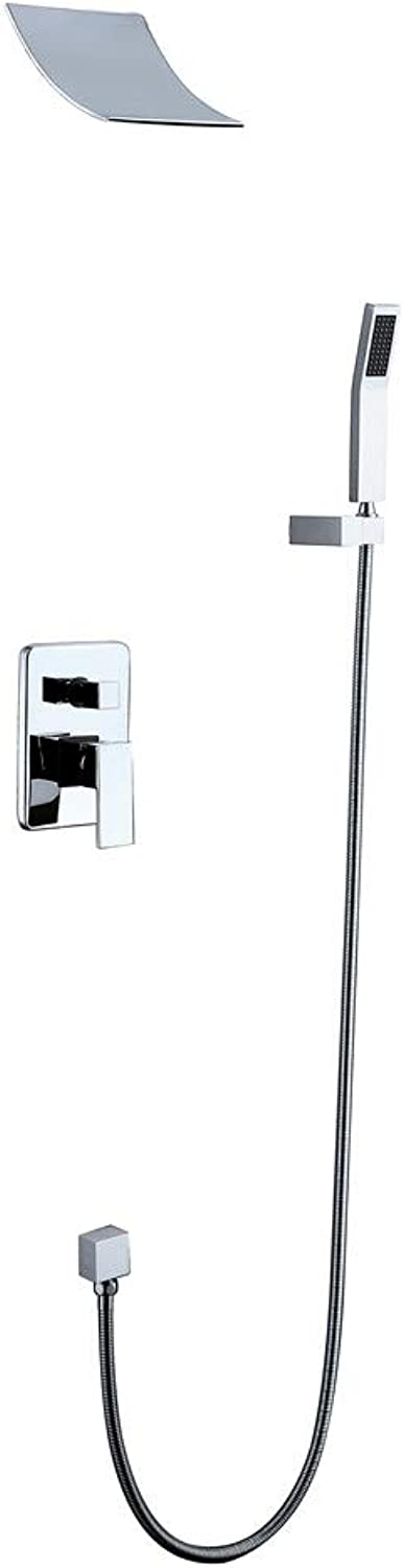 Bathroom Shower Faucet System Brass High Pressure Rainfall with Hand Shower Wall Mount Contemporary Waterfall Ceramic Valve Chrome Finish,Chrome