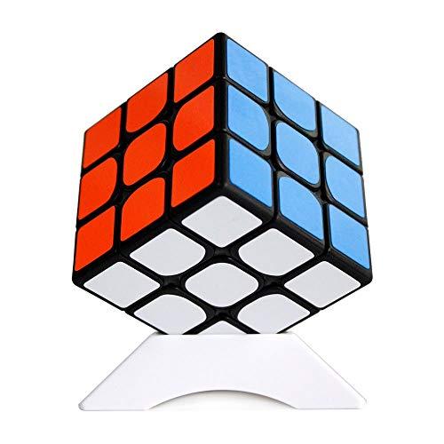 OJIN Shengshou Herr M 3x3 Gem Baoshi Magnetische Geschwindigkeit Cube Brain Teaser Twist Puzzle mit Einem Würfel Stativ (Schwarz)