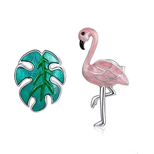 DJDEFK Aretes 925 Sterling Silver Flamingo y Hoja Stud Pendientes Dibujos Animados Animal Pendientes para Mujeres Moda Joyería de Plata Pendientes de Aro