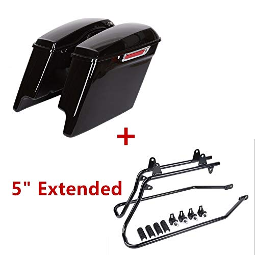 5' Vivid Black Extended SaddleBags W/Conversion Brackets For Harley SOFT TAIL 1986-2013