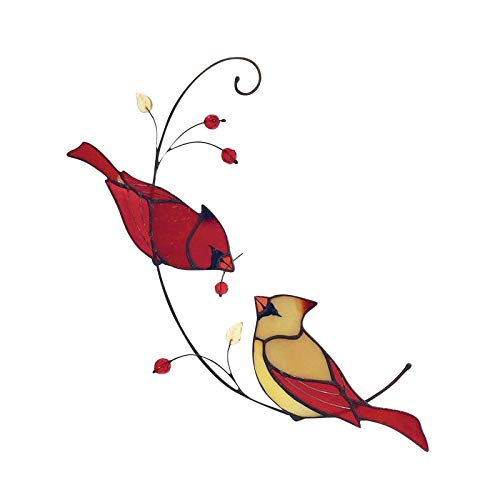 YONGFU Pair of Cardinal Bird Stained Glass Ornament Window Hanging Ornament Decoration
