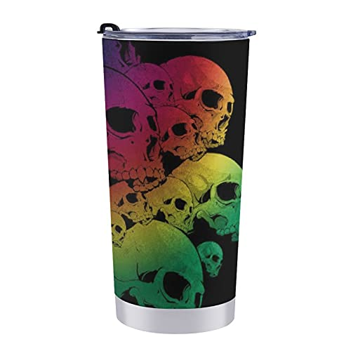 NiYoung Colorful Rainbow Skull Safe Double Wall Vacuum Insulated Travel Coffee Cup with Spill Proof Lid for Women Men Kids, Premium Stainless Steel Tumbler Cup Thermal Mug