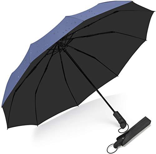 Paraguas Plegable de Viaje de Viaje con 10 Varillas,BULLIANT Grande Paraguas Automático Prueba de Viento y Impermeable