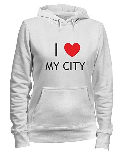 T-Shirtshock Felpa Donna Cappuccio Bianca TDM00112 I Love My City
