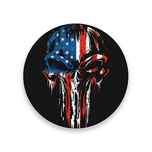 Sottobicchiere con teschio in ceramica, bandiera americana con base in sughero, decorazione per la casa da cucina, 0,20 x 3,9 x 1 2010278