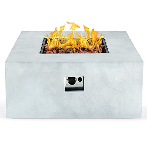 AMKV Outdoor Square Propane Fire Pit Table, Free Lava Rocks,50000 BTU 36-inch Durable Grey Concrete...