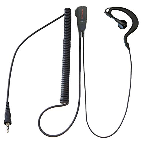 ICOM Compatible Earpiece Microphone Ear-mounted (Compatible with Alinco/Yaes/Standard/Motorola, Walkie Talkie 1-pin Waterproof Screw-in Plug) HG Curl Cord FTH-107 FTH-108 FTH-208 FTH-307 FTH-308 SR-40 SR-45 SR-70 SR-100 For DJ-P22 DJ-P221 IC-4300 IC-4350 EME-36A HM-177PI SSM-59 MH-381A4B Compatible FIELD GEAR EV4MHG