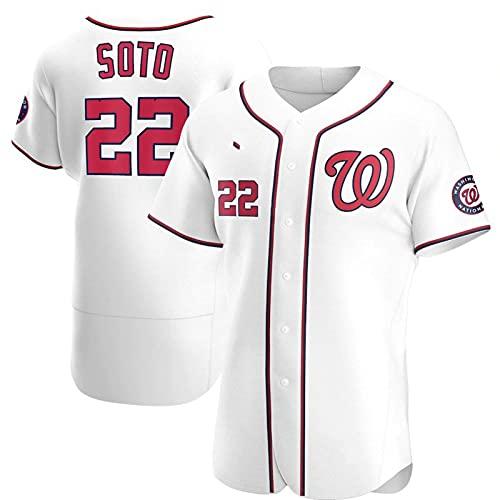WYNBB 2021 Hombre Baseball Jersey,Elite Version Nationals #22 Soto Baseball Jerseys Camisetas Al Aire Libre Casual Mujer Redondo CháNdales,White2,3XL