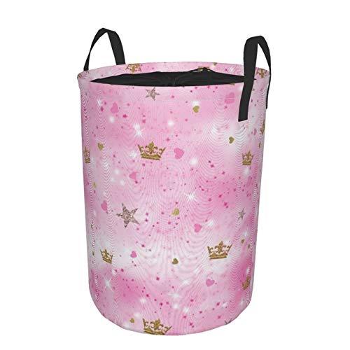 Cesta grande para la colada resistente, bolsa de tela plegable de princesa rosa con cierre de cordón, cesta redonda impermeable