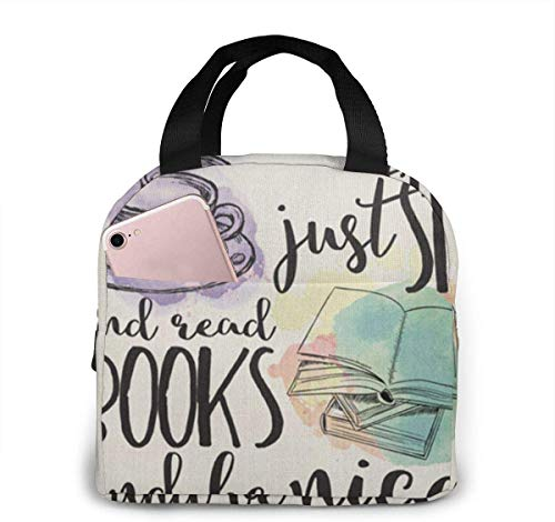 Lunchpaket, Isolierte Lunchbox, Why Can't People Just Sit and Read Books - Bookish Design Portable Insulated Lunch Bag Tote Meal Prep Box for Office School Women Men Picnic Food Kids Girls Boy