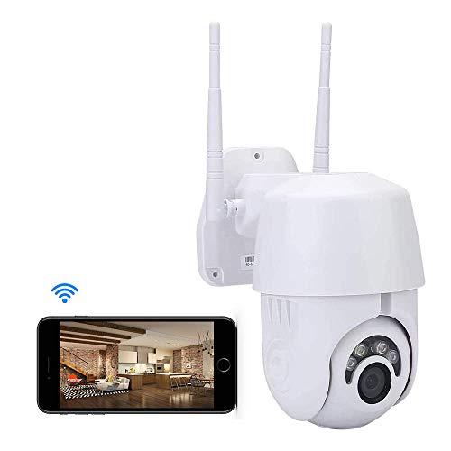 KuWFi Cámara IP Exterior, Camara IP WiFi 1080p Cámara de Seguridad al Aire Libre 2MP Domo inalámbrico PTZ Velocidad CCTV IR Onvif