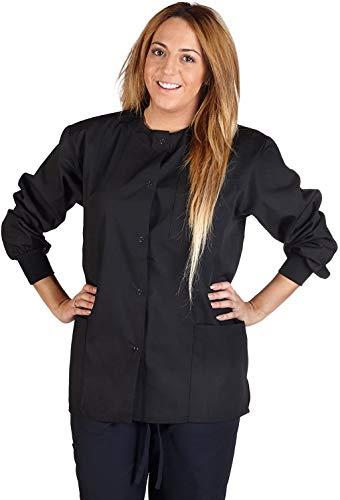 Natural Uniforms Women's Warm Up Jacket Medical Scrub Jacket (XS to 5XL) (X-Large, Black)