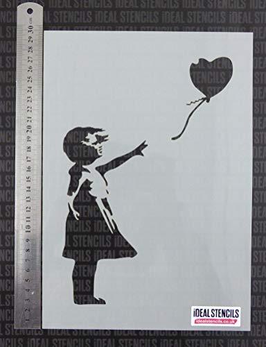 Banksy Ballon Girl Schablone / A4 Seite Größe/Farbe Wände, Stoffe, Möbel / Kunst Handwerk / Wiederverwendbar Kunststoff