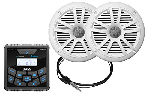 BOSS Audio Systems MCKGB450W.6 Weatherproof Marine Gauge Receiver and Speaker Package - IPX6 Receiver, 6.5 Inch Speakers, Bluetooth Audio, USB MP3, AM FM, NOAA Weather Band Tuner, No CD Player