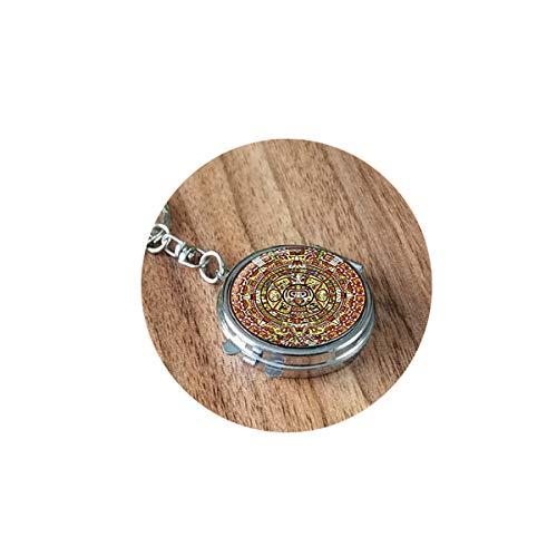 qws Azteken-Kalender mit Aztekenmuster, faltbarer Spiegel, tragbar, kompakt, rund, Kosmetik, Bibel-Zitat, faltbarer Spiegel, tragbar, kompakt, rund, Kosmetik