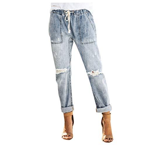 aihihe Women Pull On Distressed Denim Joggers Elastic Waist Stretch Pants Jeans(Light Blue,Small)