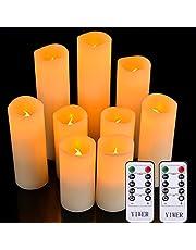 """YIWER Led-kaarsen,set van 9 vlamloze kaarsen,werkt op batterijen, D2.2xH 4""""5"""" 6""""7"""" 8""""9"""" echte waxzuil kaarsen flikkeren met afstandsbediening en timerbediening,ivoor kleur (9x1)"""