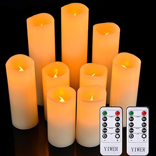 Yirer Bougies à LED sans flamme avec batterie en cire véritable, avec des flammes LED réalistes et une télécommande à 10 touches avec fonction minuterie 2/4/6/8 heures, 300 heures et plus. Bougies sans flamme 1x9 Y-04, ivoire, 1 x 9 cire véritable avec 2 télécommandes.