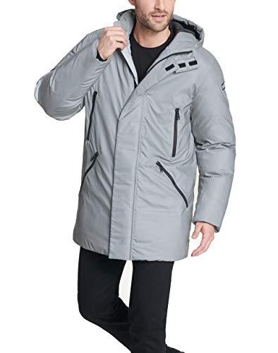 DKNY Men's Water Resistant Hooded Logo Parka Jacket, Grey, Large