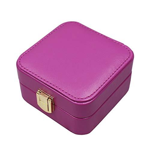Gu3Je Joyero Mini pequeño joyería Caja Doble Portable de joyería Recorrido de la Caja Pendiente de la joyería Bolsa de Almacenamiento para Guardar Joyas (Color : Purple, Size : 10.5x10.5x5cm)