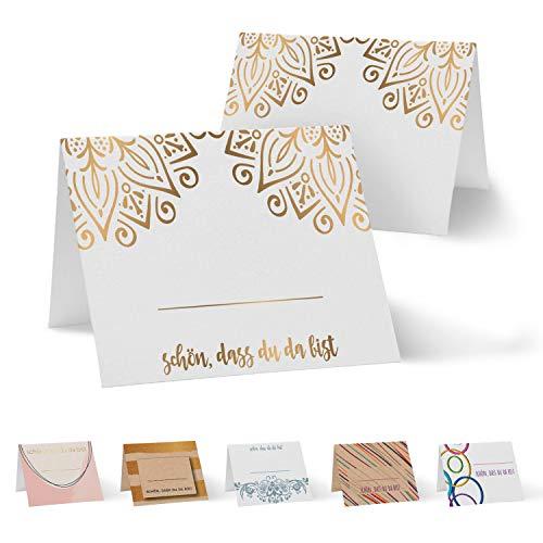 Partycards 50 Tischkarten Namenskarten Platzkarten für Hochzeit, Geburtstag, Kommunion, Taufe (DIN A7, 1000 und 1 Nacht)