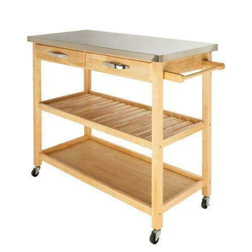 BaiHogi Bed Table, Kitchen Island Trolley Cart Utility Dining Storage Cabinet Dish Serving Rack
