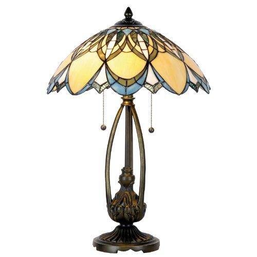 Lumilamp 5LL-5320 Tafellamp Art Deco Tiffany Stijl Blauw/Natuurlijke Diameter 40 x 60 cm 2x E27 Max 60 W Handgemaakte glazen kap