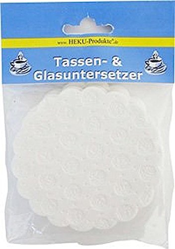 HEKU 257-01 Tassen & Glasuntersetzer ø9cm 20 Stück Rosen weiss