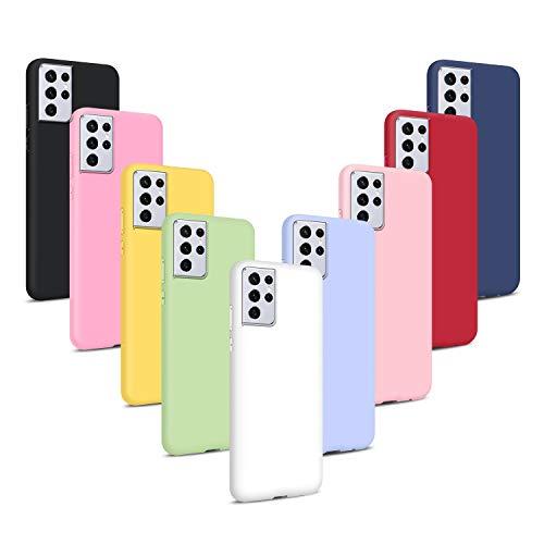 9X Funda para Samsung Galaxy S21 Ultra 5G, Carcasas Flexible Suave TPU Silicona Ultra Delgado Protección Caso(Rojo + Rosa Claro + Púrpura + Amarillo + Rosa Oscuro + Verde + Negro +Azul Oscuro)