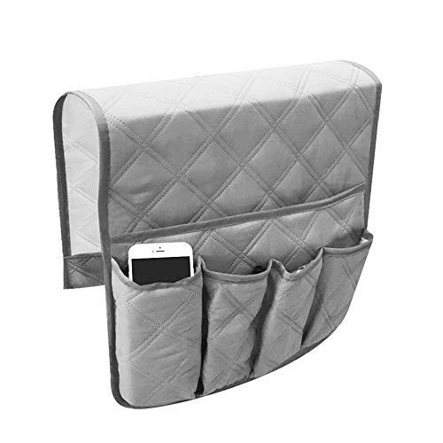 Qplcdg - Organizador de reposabrazos impermeable para el sofá o el reposabrazos del teléfono, libros, revistas, mando a distancia de TV, ahorro de espacio (gris)