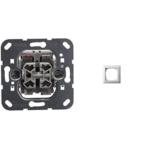 Gira 015800 Wipptaster Jalousie Einsatz & 021103 Rahmen 1-fach ST55, reinweiß-glänzend