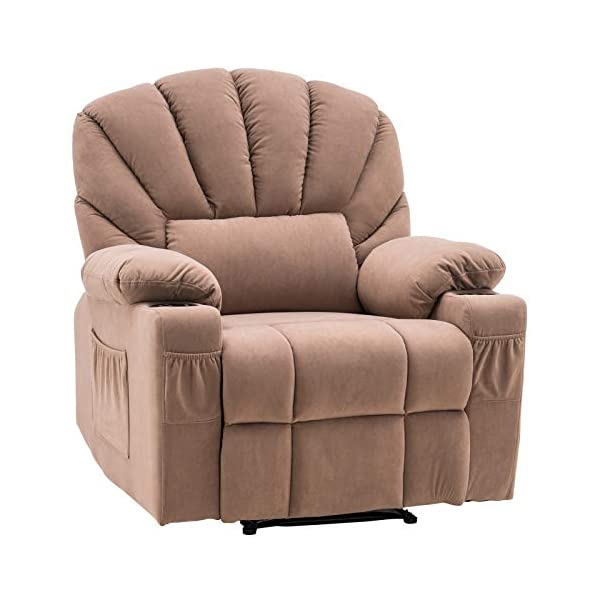 VINGLI Fabric Recliner Chair for Living Room Reclining Chair Overstuffed Sofa Recliners...