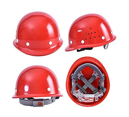 XOTF 安全帽 工地 施工 玻 钢 加厚 V 型 透气 ABS 水 电工 劳保 防 砸 头盔 男 (Farbe : Red)
