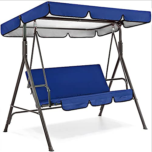 Emeili Cojín para Columpio para Patio al Aire Libre, Asiento Acolchado de 3 Plazas Garden Swing con Techo Ajustable, Anti-UV, Impermeable (Azul)