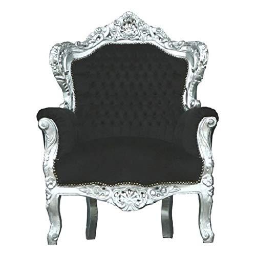 Casa Padrino Barock Sessel 'King' Schwarz/Silber - Thron Tron Königsthron