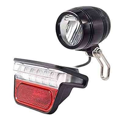Electric Bike Light Front and Back, Rear Carrier Electric Bicycle Safety LED Headlight & Rear Tail Light, Ebike Lights Set 48V 36V 60V,Easy to Install for Men Women Kids (2 PC)