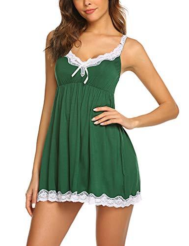 Avidlove Nachtwäsche Damen Sexy Spitze Dessous Kleid Spaghettiträger Nachtkleid Nachtwäsche Negligee V-Ausschnitt Sleepwear Unterkleid Minikleid Sexy Rot XXL