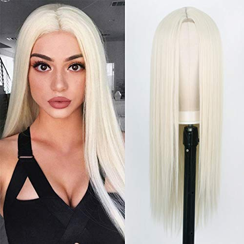 AISI HAIR White Straight Long Wigs for Women 26 Inch Middle Part Long Platinum Blonde #60 Straight Wig Natural Looking Synthetic Heat Resistant Full Wigs (60#)