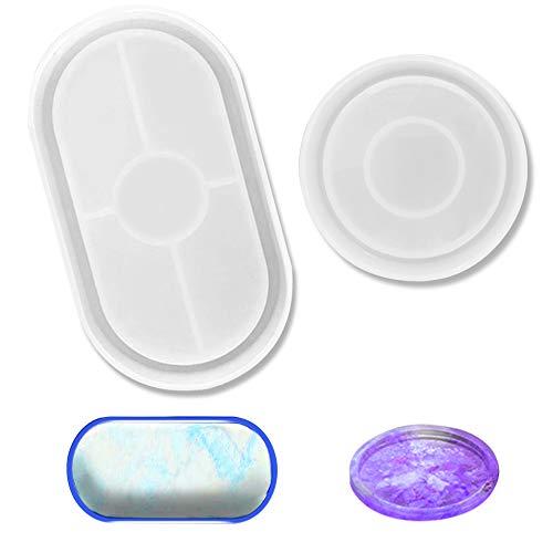 Moldes de resina de silicona, 2 moldes de fundición de resina para hacer posavasos, plato de...