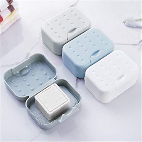 Queta Jabonera de Viaje, 3 Pieza Jabonera Caja Recipiente de jabón plástico de Viaje Soapbox Impermeable para El Hogar, Baño, Senderismo, Viajes (Tipo 1)