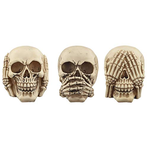 3 Totenköpfe, 3er Set Nichts sehen, Nichts hören, Nichts Sagen,3 Skulls, Set of 3 See Nothing, Hear Nothing, Say Nothing