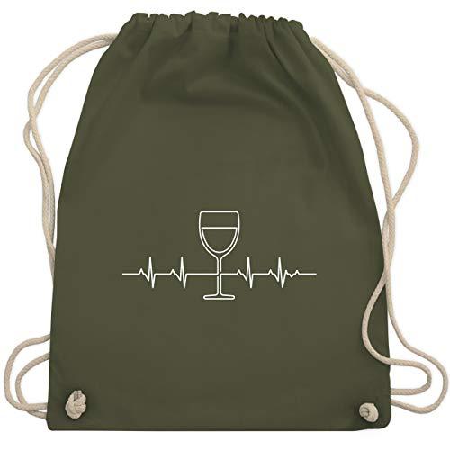 Shirtracer Symbole - Herzschlag Wein - Unisize - Olivgrün - wein rucksack - WM110 - Turnbeutel und Stoffbeutel aus Baumwolle