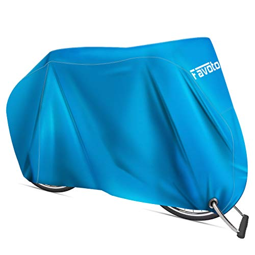 Favoto Custodia Bici Telo Copribici Copertura Biciclette da Esterno 210D Impermeabile Resistente a Polveri/Pioggia/Neve/UV, può Coprire 2 Biciclette con Sacchetto per Il Trasporto, Blu