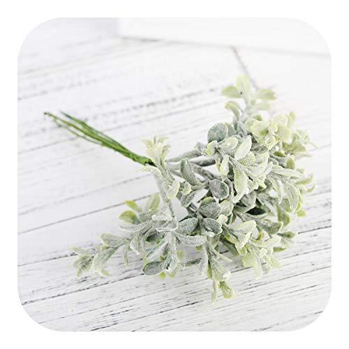 Unbekannt Künstliche Blumen Bulkware, 6 Stück Kunststoff-Fälschungs Eukalyptusblätter Weiß Kleine Bouquet DIY Zubehör Faux Pflanzen Hochzeit Home Decoration, grün