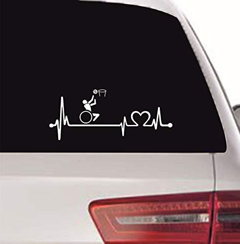 myrockshirt Pegatina con latido del corazón para conductores de sillas de ruedas, Paralímpicos, baloncesto, tipo 2, 40 cm, latido de corazón