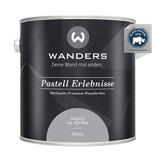 Wanders24® Pastell Erlebnisse (2,5 Liter, Stein) edelmatte Wandfarbe - Feine Farben - in 40 Farbtönen - Wandfarbe Grau - Made in Germany